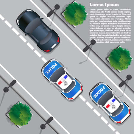 Police chase  View from above. Vector illustration. Çizim