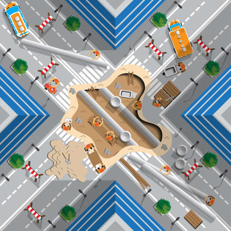 Repair of the pipeline under the road. View from above vector illustration.