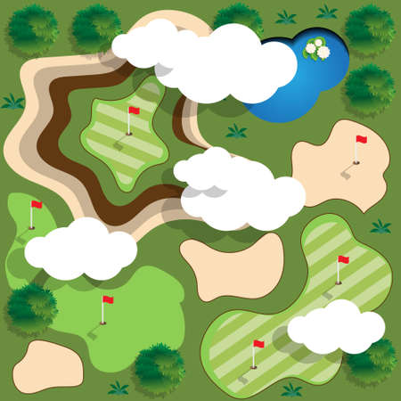Golf course view from above vector illustration. Illustration