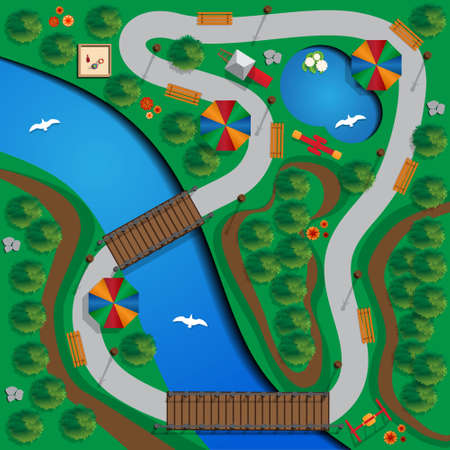 The park with a river and lake. View from above. Vector illustration.