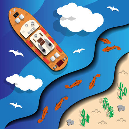 A ship at sea. View from above. Vector illustration.