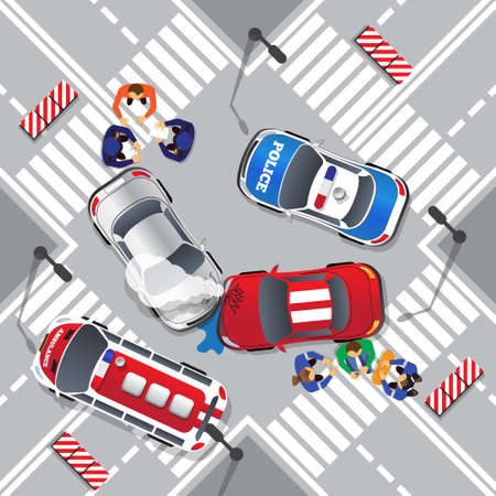 Road accident. View from above. Vector illustration.
