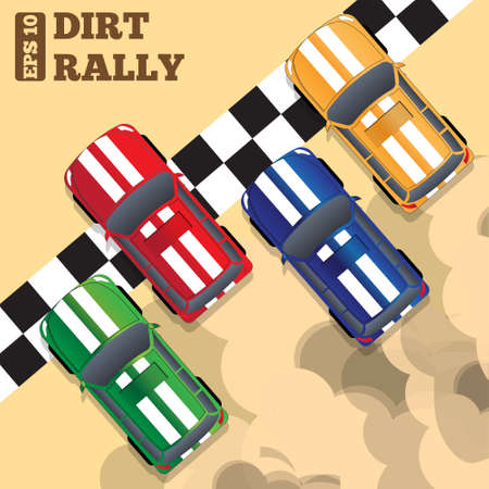 Rally at the finish line. View from above. Vector illustration. Ilustração