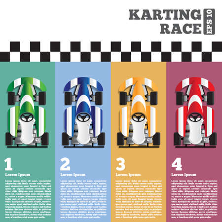 Karting at the finish line. View from above. The template for the presentation. Vector illustration