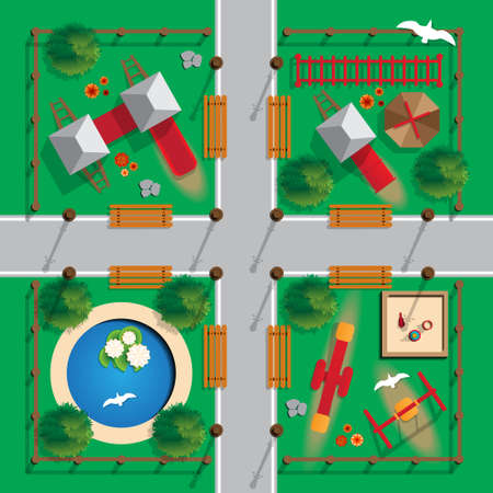 Top view playground image illustration
