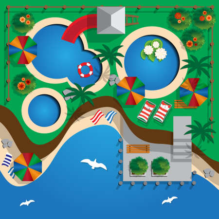 Plan water park on the beach. View from above. Vector illustration.
