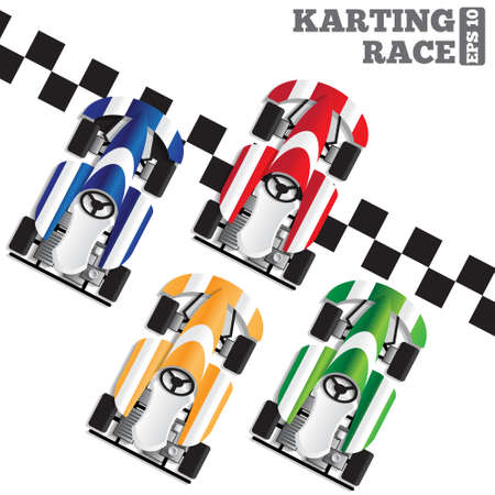 Karting race. View from above. Vector illustration. Illustration