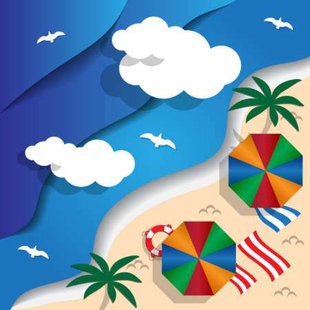 Beach. View from above. Vector illustration.