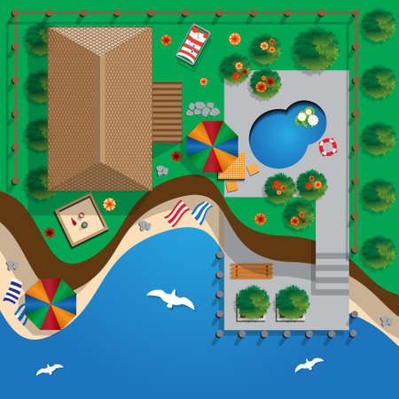 Plan a private house with a courtyard, lawn and pool. Top view of a house. Vector illustration.