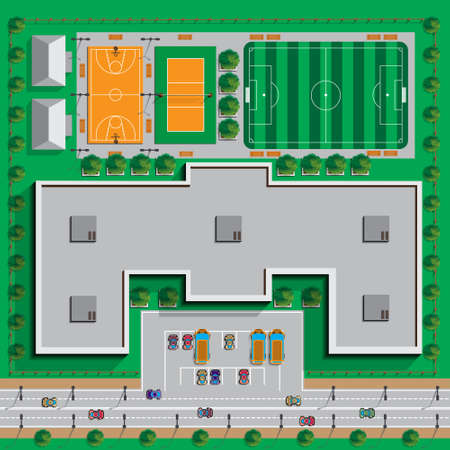 School infrastructure. View from above. Vector illustration.