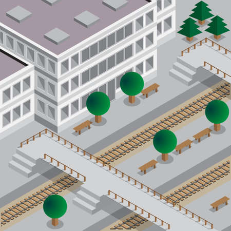 Railway Station. Isometric. Vector illustration.