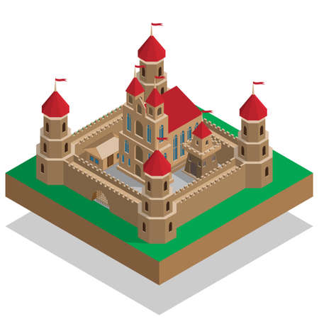 Old castle Isometric Vector illustration.