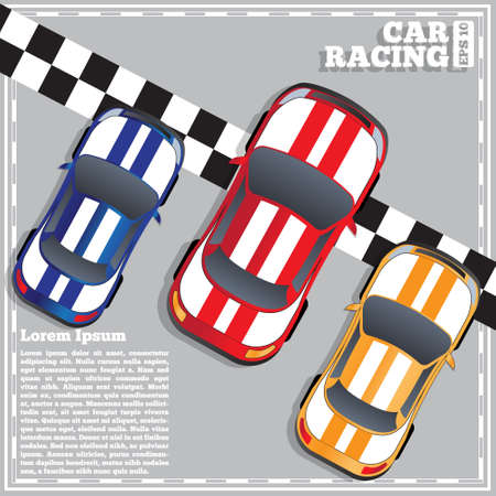 Racing cars at the finish line, View from above Vector illustration.