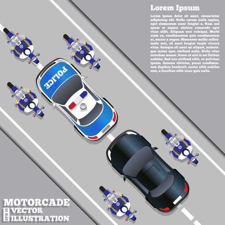 The motorcade escorted by police, View from above Vector illustration.