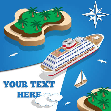 Cruise liner in the lagoon isometric vector illustration.
