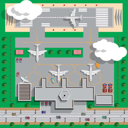 Airport infrastructure isometric vector illustration.
