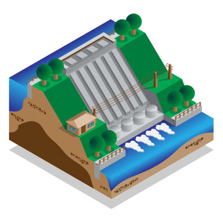 Hydroelectric power plant isometric vector illustration.