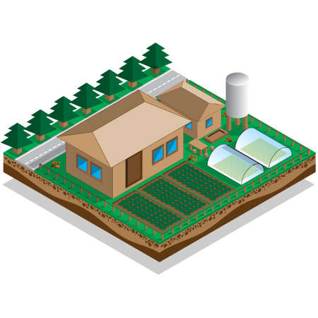 The house with a courtyard and garden isometric vector illustration.