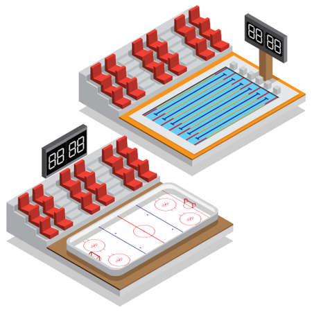 Hockey stadium and swimming pool. Isometric. Vector illustration.