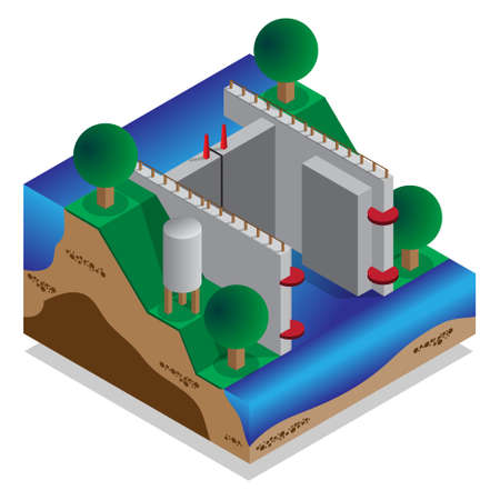Locks water on A device for raising and lowering boats. Isometric Vector illustration. Illusztráció