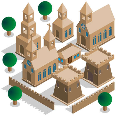 Set to an old castle on Isometric Vector illustration. Иллюстрация