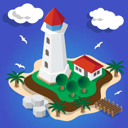 Lighthouse on the island on Isometric Vector illustration. Illusztráció