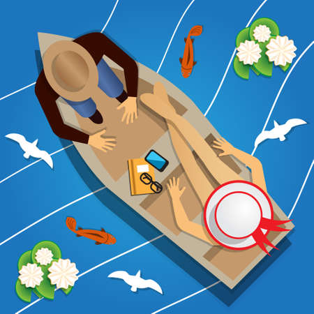 The guy with the girl in the boat. View from above Vector illustration.