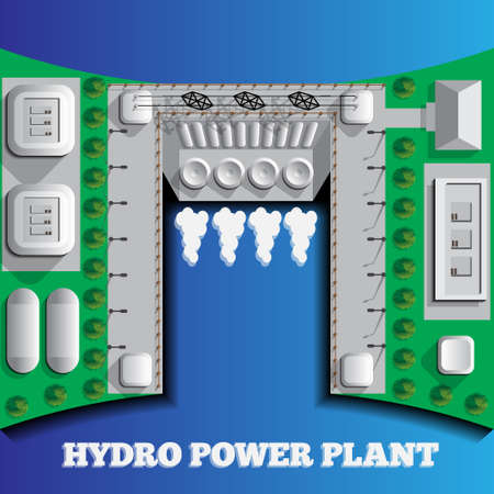 Hydroelectric power plant on a blue background. Ecology. View from above. Vector illustration. Stock Illustratie