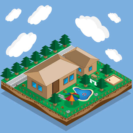 Plan a private house with a courtyard, lawn and pool isometric vector illustration. Stock Illustratie