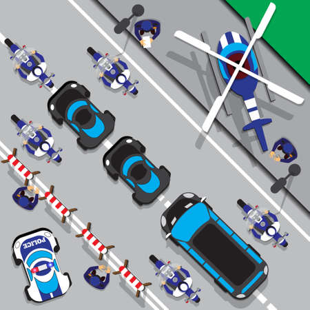 The motorcade escorted by police. View from above. Vector illustration. Illusztráció