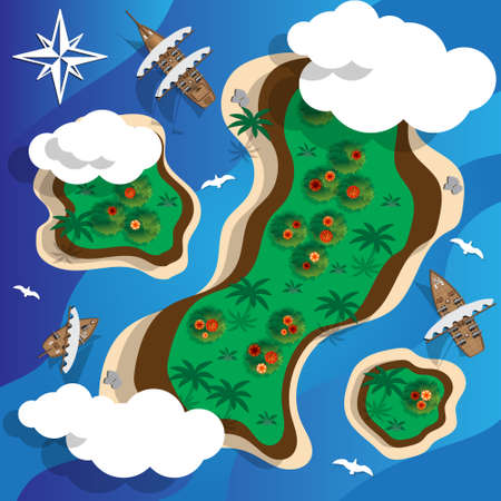 Tropical island and sailing ships. View from above. Vector illustration. 일러스트