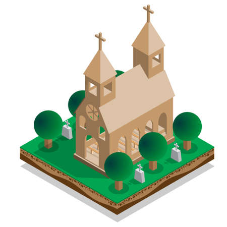 The interior of the church. Isometric. Vector illustration.