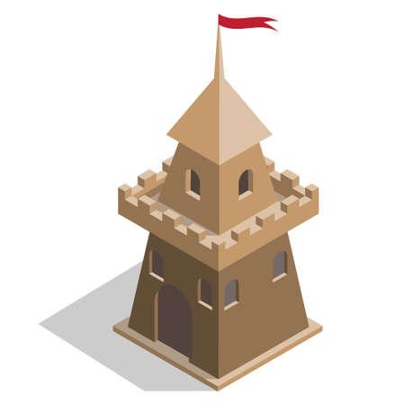 Castle tower. Isometric. Vector illustration.