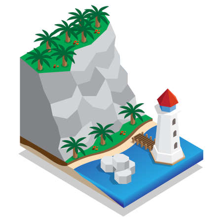 The lighthouse on the shore. Isometric. Vector illustration.
