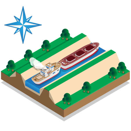 The ship is pushing the barge. Isometric. Vector illustration.