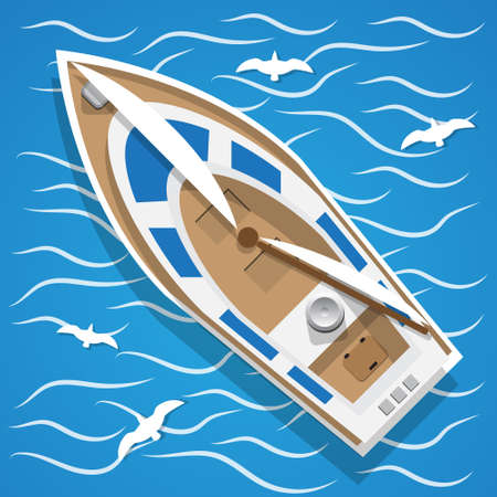 Yacht sailing on the waves. View from above. Vector illustration.