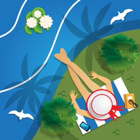 The girl in the hat on the beach. View from above. Vector illustration. Ilustração