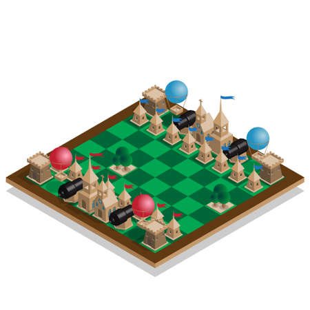 Game set. Stylized chess pieces on the board. Isometric. Vector illustration.