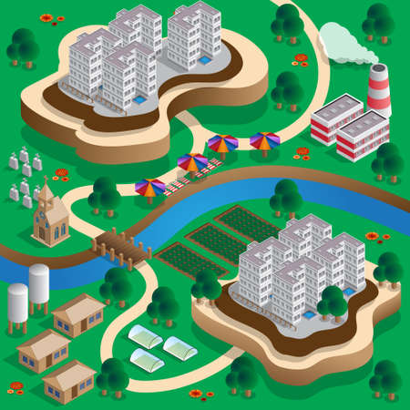 Rural landscape isometric vector illustration.
