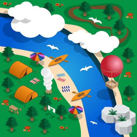 Camping on the river isometric vector illustration. Illusztráció
