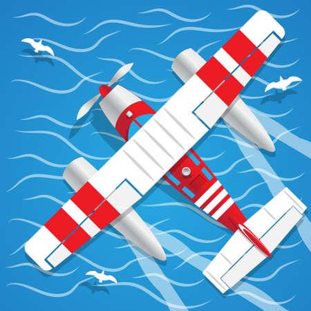 Amphibien-Wasserflugzeugansicht von oben Vektorillustration. Standard-Bild - 99605586