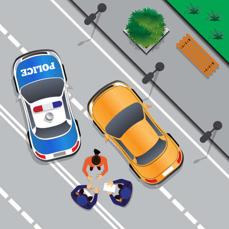 Police stopped the offender. Bad driving view from above vector illustration. Illustration