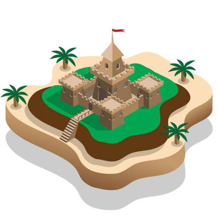 Old castle on the hill. Isometric. Vector illustration.