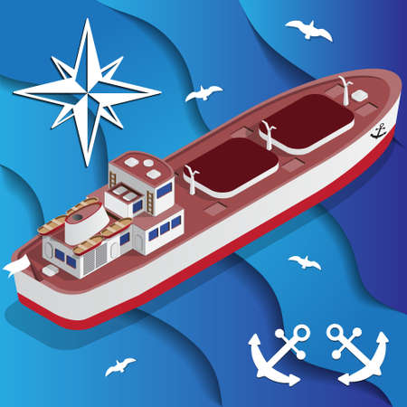 Tanker Ship on the waves. Isometric. Vector illustration. Illustration