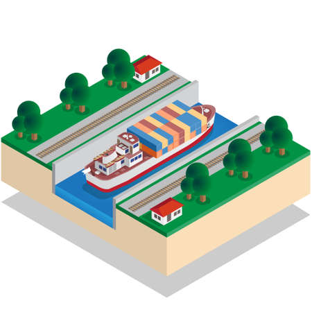 Ship Canal. Isometric. Vector illustration.