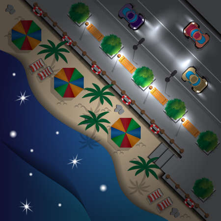 Beach in the city. Night. Summer holiday. View from above. Vector illustration.