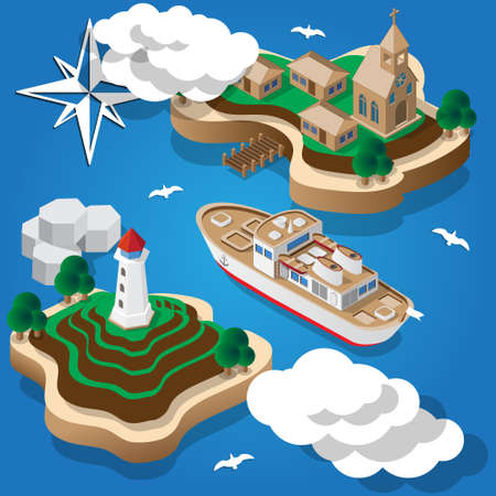 The ship comes to fishing isometric vector illustration.