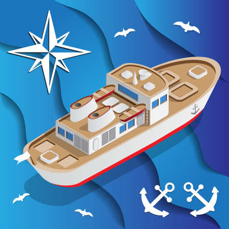 The ship on the waves isometric vector illustration. Illustration