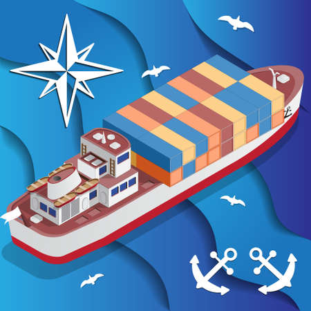 Ship for transporting containers isometric vector illustration.