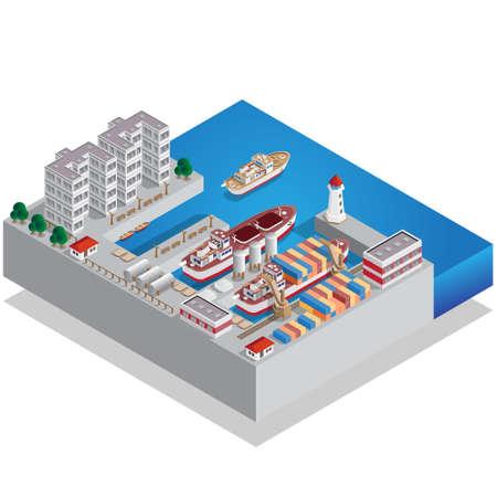 Sea port isometric vector illustration. Иллюстрация